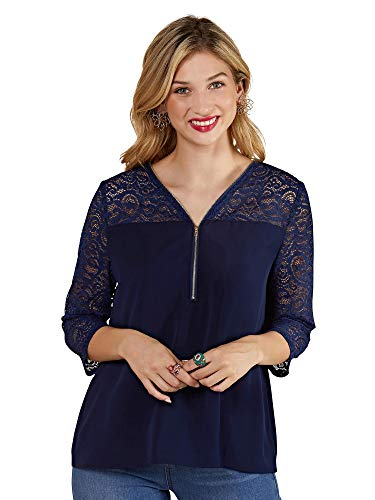 YUMI Damen Navy Lace Top with Zip Detail Bluse, 34