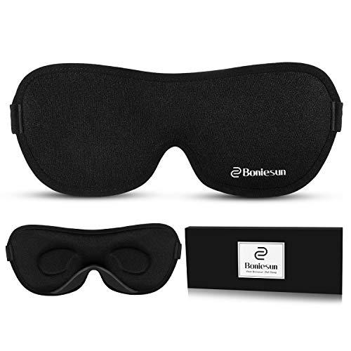 Boniesun Ultradünne Schlafmaske für Frauen & Herren, Schlafmaske für Seitenschläfer Verdunklungs-Augenmaske zum Schlafen Glatte Hautfreundliche Kühlende Seide 3D KonturierteSchalen-Augenbinde
