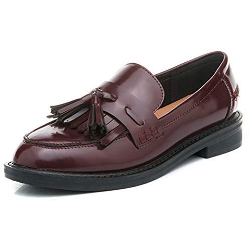 Zapatos Oxfords para Mujer Tacones Bajos de Moda Borlas Zapatos de Cuero Zapatos Planos para Mujer Slip On Mocasines para Mujer
