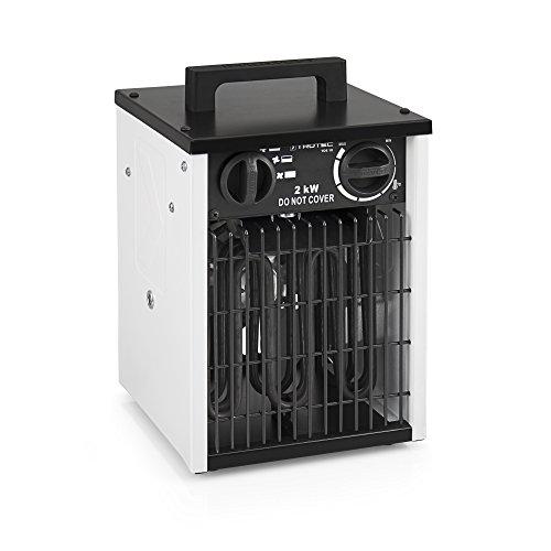TROTEC Elektroheizer TDS 10 mit 2 kW Heizlüfter Heizgerät Bauheizer mit integriertem Thermostat, Überhitzungsschutz sowie 3 Heizstufen