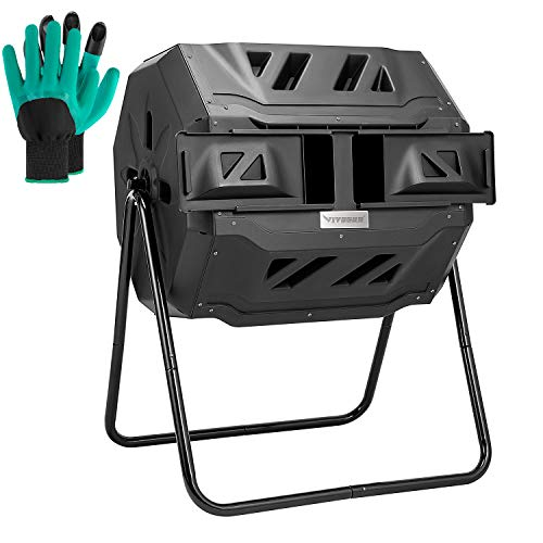 VIVOSUN Tumbling Composter Dual Rotating Batch Compost Bin 43 Gallon Black