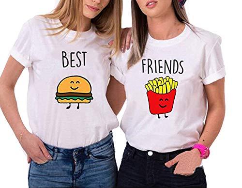 Mixcept T-Shirt Beste Friends Gedruckt Kurzarm T Sommer FrauTops für 2 Mädchen Damen BFF Shirts mit Aufdruck Burger und Pommes Lustige Passende