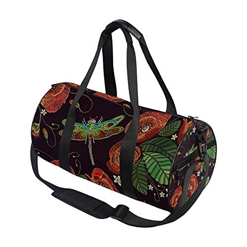 Borsone da palestra, con libellula, papavero e fiori di nuotata, borsa sportiva da viaggio con scomparto per scarpe e tasca bagnata, per donne o uomini