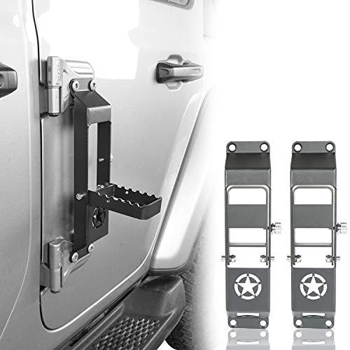Hooke Road Metal Folding Door Hinge Steps, Door Pedal w/Star Sign Compatible with Jeep Wrangler JL & Jeep Gladiator JT 2018 2019 2020 2021 (Set of 2)