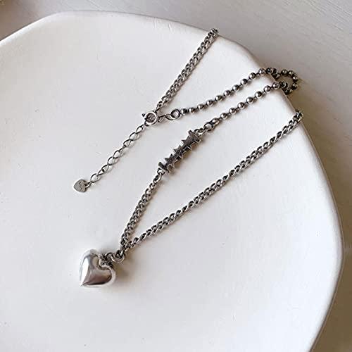 HCMA 925 Plata esterlina Amor corazón Estrella Colgante Collar de Plata tailandesa Cadena de Cuentas Redondas Collar asimétrico para Mujeres