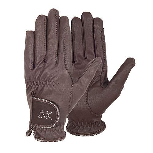 AK - Guantes de equitación para mujer, hombres y niños, guantes ecuestres con piedras (marrón, XL)