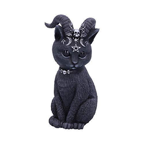 Nemesis Now Pawzuph Horned Okkulte Katze, Polyresin, schwarz und Silber, 11 cm
