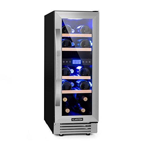Klarstein Vinovilla Duo17 - Nevera para vinos, Nevera de bebidas, Volumen de 53 litros, 4 estantes de madera, Panel táctil, Iluminación interior LED en tres colores, 2 zonas, Negro