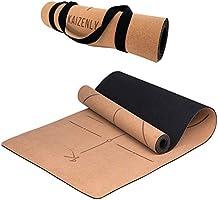 KAIZENLY Pro Milieuvriendelijke Yogamatte - Natuurlijke Kurk, Uitstekende Grip - Yoga Mat met Draagband - Voor Yoga,...