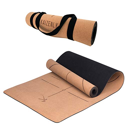 KAIZENLY Pro Esterilla de Yoga Ecológica - Corcho Natural, Antideslizante - Esterilla Yoga, Pilates, Fitness - Colchoneta Yoga con Correa de Transporte - Yoga Mat (183 x 61 x 0,5 cm) (Pro Lines)