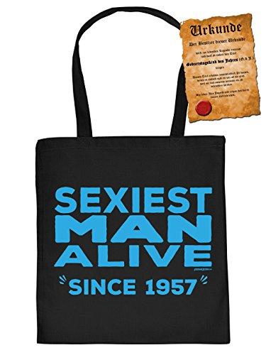 Nützliche Stofftasche Jutebeutel Einkaufstasche Tragetasche mit langen Tragegriffen und mit Urkunde: Sexiest Man Alive since 1957