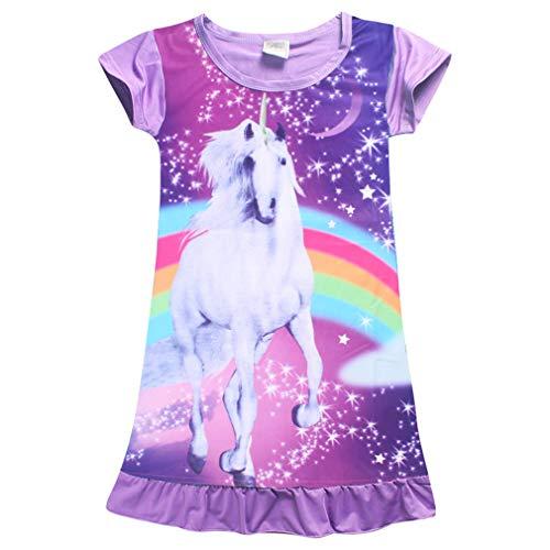 wetry Mädchen Nachthemd Einhorn Pferd Regenbogen Kleider Kurzarm Nachtwäsche Nachthemd für Kinder