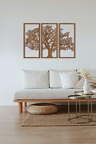 Tubibu 3 panneaux en bois (MDF), arbre généalogique, arbre de vie, sculpture murale en bois, décoration murale, décoration murale, salon, chambre à coucher (couleur bois de noyer, taille moyenne)