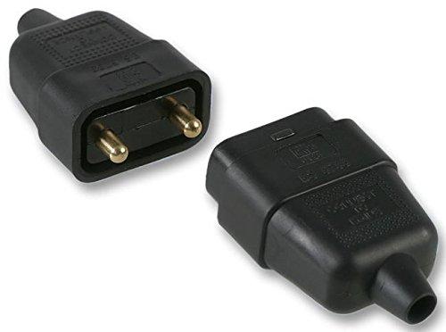 Pro Elec ? 2 broches Connecteur In-Line en caoutchouc, 10 A Noir