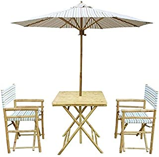 Zew 4-Piece Bamboo Outdoor Patio Set Includes Square Table, 2 Director Chairs and 1 Umbrella, White Stripe