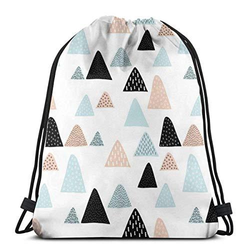 Lsjuee Bolso con cordón de Hombro Abstracto Geométrico Triángulo Pico de montaña Invierno Estilo escandinavo Coral Mint Mochila Bolsa de Deporte Mochilas de Cuerda Mochila Escolar Gimnasio Ligero