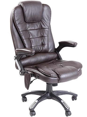Leather high back reclining office / desk chair with massage and heat (Brown)