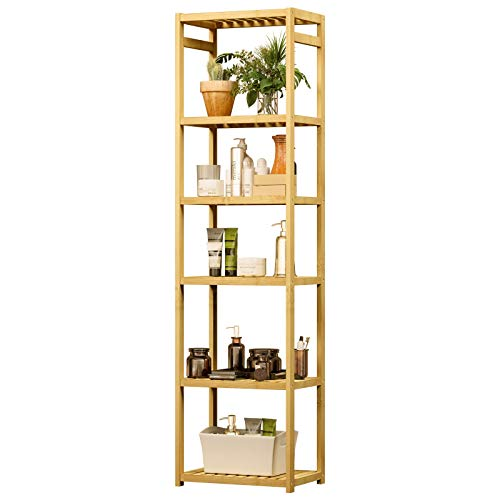 VIAGDO Bambus Regal mit 6 Ebenen, 163cm Höhe Badregal Bambusregal Küchenregal Standregal Bücherregal Aufbewahrungsregal Badezimmerregal Regale für Wohnzimmer Badezimmer Flur Küche, 163 x 43,5 x 29 cm