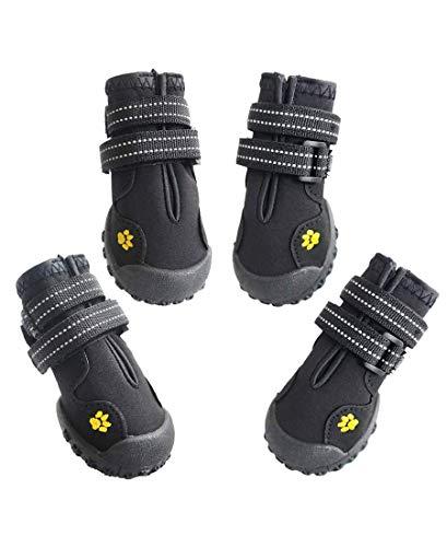 ASMPET 犬用靴 防水 滑り止め 犬 靴 小型犬靴 着脱やすい 犬靴 秋冬 愛犬のお散歩 暖かい ブラック 01