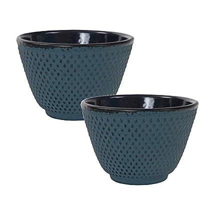Tealøv TAZAS HIERRO FUNDIDO 120 ml - Juego de 2 Tazas de Té de Hierro Fundido - Con Interior Totalmente Esmaltado - Mantiene el Té caliente - Diseño Fino de Estilo Japonés (Azul)