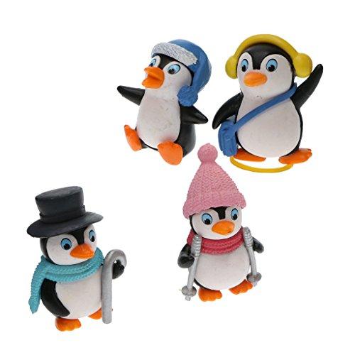 FLAMEER 4pcs Mikro Landschaft Mini Pinguin Dekofigur Set