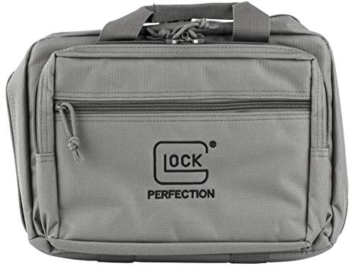 Glock Apparel Double Pistol Case, Gray, 12.5' X 9.5' X 4.5', Padded Compartments, Holds 2 Handguns, 5 Magazines, Ammo, and Range Tools, One Size