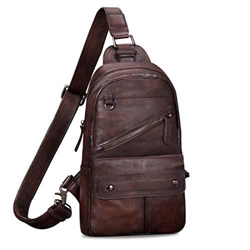 Genuine Leather Sling Bag for Men Vintage Handmade Crossbody Daypack (Coffee)