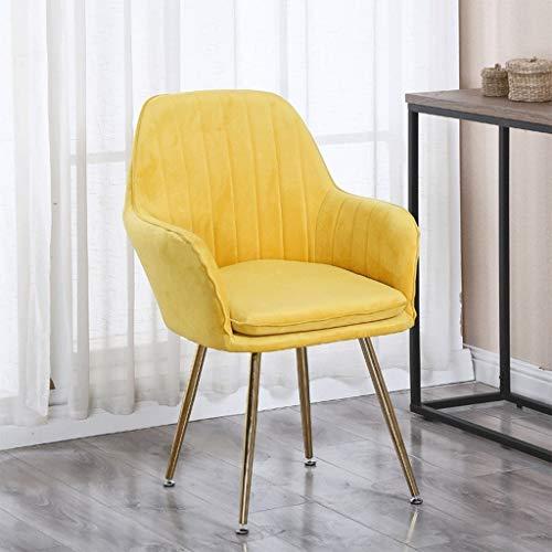 zyy Küchenstühle, Retro-Küchenstühle, weicher Samt, Sitz und Rückenlehne mit Kissen, Metallbeinen, Sessel für...