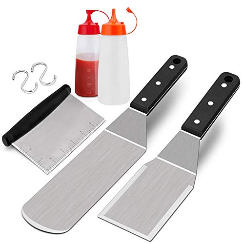 HaSteeL Metal Spatula Set, 5PCS Griddle Accessories Grill Spatulas Tools Stainless Steel for Teppanyaki BBQ Flat Top Hibachi Camping, Riveted Handle & Dishwasher Safe