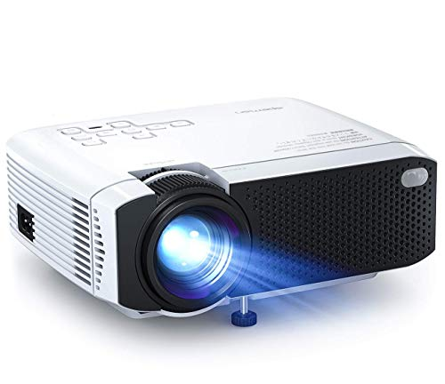 "Mini Projector, APEMAN 4500L Brightness Projector, Support 1080P 180"" Display, Portable Movie Projector, 45,000Hrs LED Life and Compatible with TV Stick, PS4, HDMI, TF, AV, USB for Home Entertainment"