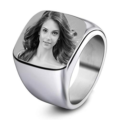 Personalized Photo Ring Customized Picture Ring Titanium Steel Ring Men'S Ring Temperament Ring Fashion Ring for Dad(Silver N 1/2)