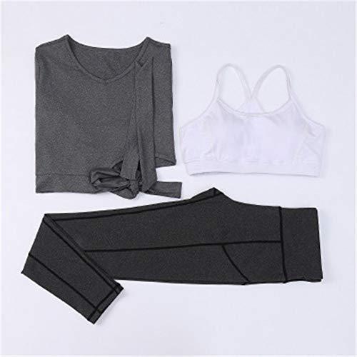 Trajes deportivos para mujer, 3 piezas, para correr, fitness, con cordones, cintura, manga larga, cuello redondo (color: C, talla: XL)