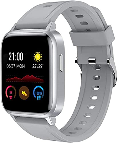 Reloj Inteligente Hombres Mujeres Pulsera Inteligente Monitoreo de Temperatura Corporal Frecuencia Cardíaca Fitness Tracker IP68 Impermeable-Gris