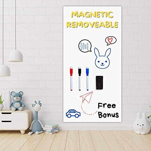 Magnetic Removable Dry Erase Whiteboard Sticker for Wall 47 x 16 in - Premium Stain Resistant Surface - Self-Adhesive Board for Wall - Includes 3 Markers, Eraser and 41 Magnetic Letters for Kids