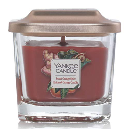 Yankee Candle Elevation Kollektion mit Plattformdeckel Kleine 1-Docht-Quadratkerze, Sweet Orange Spice