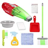iBaseToy 9 Pcs Toy Cleaning Set - Pretend Play Cleaning Toy Includes Electric Vacuum Cleaner, Broom, Brush, Dustpan, Spray Bottle, Washbasin, Foam Dust, Sponge, Dishcloth-Toy Housekeeping Kit for Kids