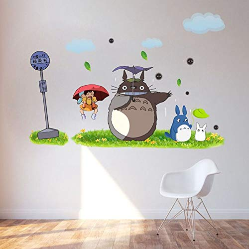asd137588 Wandtattoo Totoro Wallpaper Cartoon Animation Vinyl Totoro Wandaufkleber Für Kinderzimmer Cafe/Bar/Home Decoration