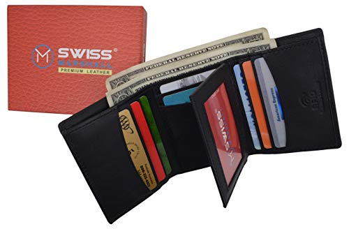 Swiss Marshall Mens RFID Blocking Premium Leather Classic Trifold Wallet Gift Box