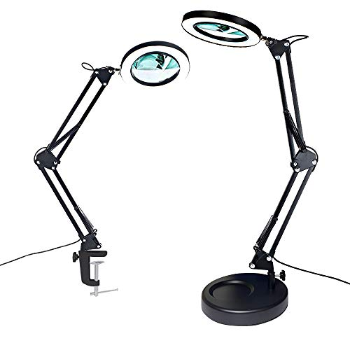 Magnifier Desk Lamp, Addie 2-in-1 Dimmable Daylight Bright...