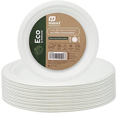 Eco Natural 100 Platos Blancos Redondos de 22 cm, Fabricado con Fibra Natural Caña de Azúcar, Platos Desechables Extrafuertes. Reciclable, Biodegradables y Compostables, 100% Ecologicos