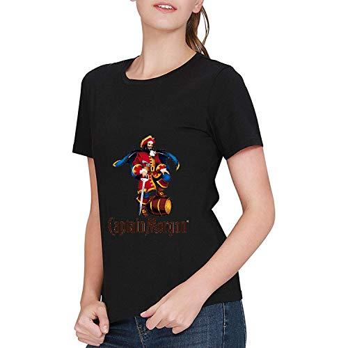 JINFENGT Women's/Damen T-Shirts Captain Morgan Logo T-Shirts Tee Black