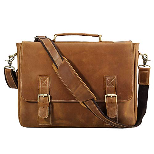 Polare Vintage Full Grain Leather Tote Briefcase Professional 16'' Laptop Shoulder Messenger Bag with YKK Metal Zippers (Light Brown)