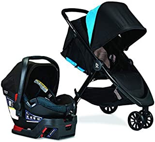 Britax B-Lively Travel System with B-Safe Ultra Infant Car Seat, Cool Flow Teal | 2 Layer Impact Protection, One Hand Fold, XL Storage, Ventilated Canopy, Easy to Maneuver