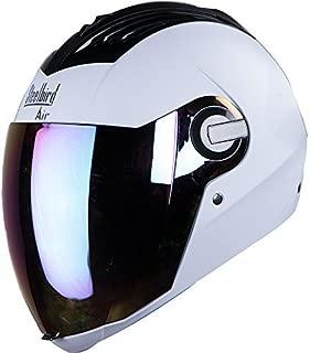 Steelbird SBA-2 Full Face Helmet with Visor (White and Gold, Large)