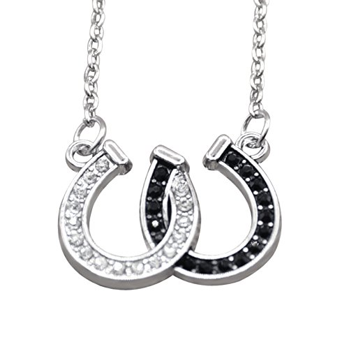 Hanessa Damen-Schmuck Halskette Hufeisen-Glücksbringer Pferde Tier Liebe Silber Schwarz Geschenk für Mädchen/Freundin/Pferde-Fans