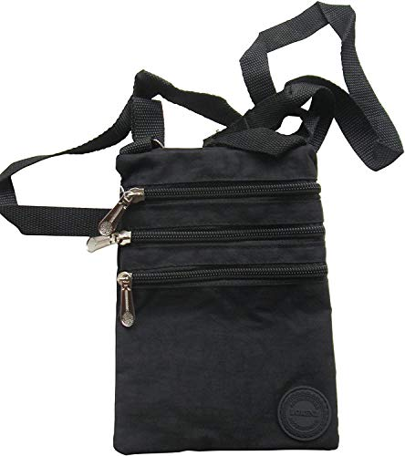 Ladies Crinkled Nylon Small Cross Body Bag Organiser - Black