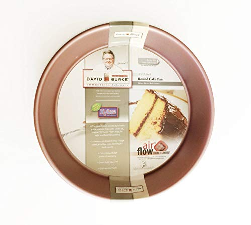 "David Burke Commercial Weight 9""x2"" Round Cake Pan Rose Gold with Air Flow Baking Technology"