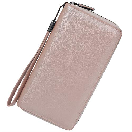 Women RFID Blocking Wallet Leather Zip Around Phone Clutch Large Travel Purse Wristlet (Rose Gold)