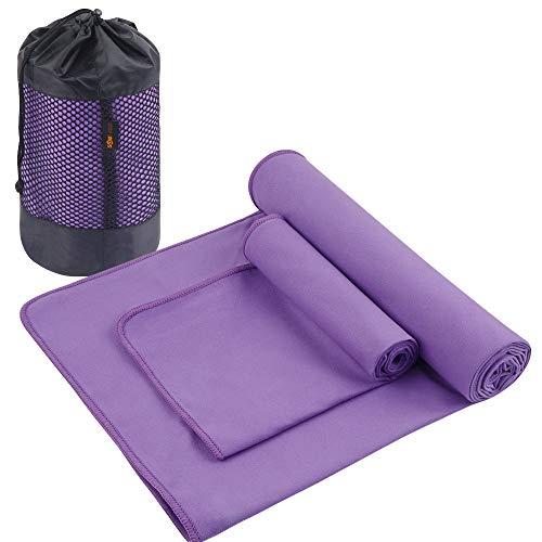 SUNLAND Mikrofaser-Yoga-Handtuch, schweißabsorbierend, weich, rutschfest, Hot Yoga Handtuch + Handtuch, 2-in-1-Set mit Tragetasche, ideal für Pilates, Hot Yoga, Bikrams, 61 x 182 cm, Violett