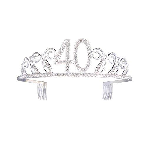 frcolor Corona Cumpleaños 40Diadem Tiara con pelo peine cristal brillantes plata regalo de cumpleaños 40años para mujeres